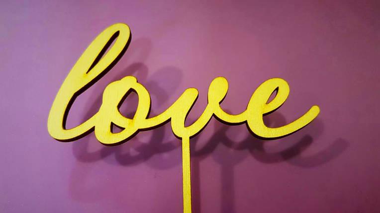 "Топпер деревянный ""love"" 1 шт., фото 2"