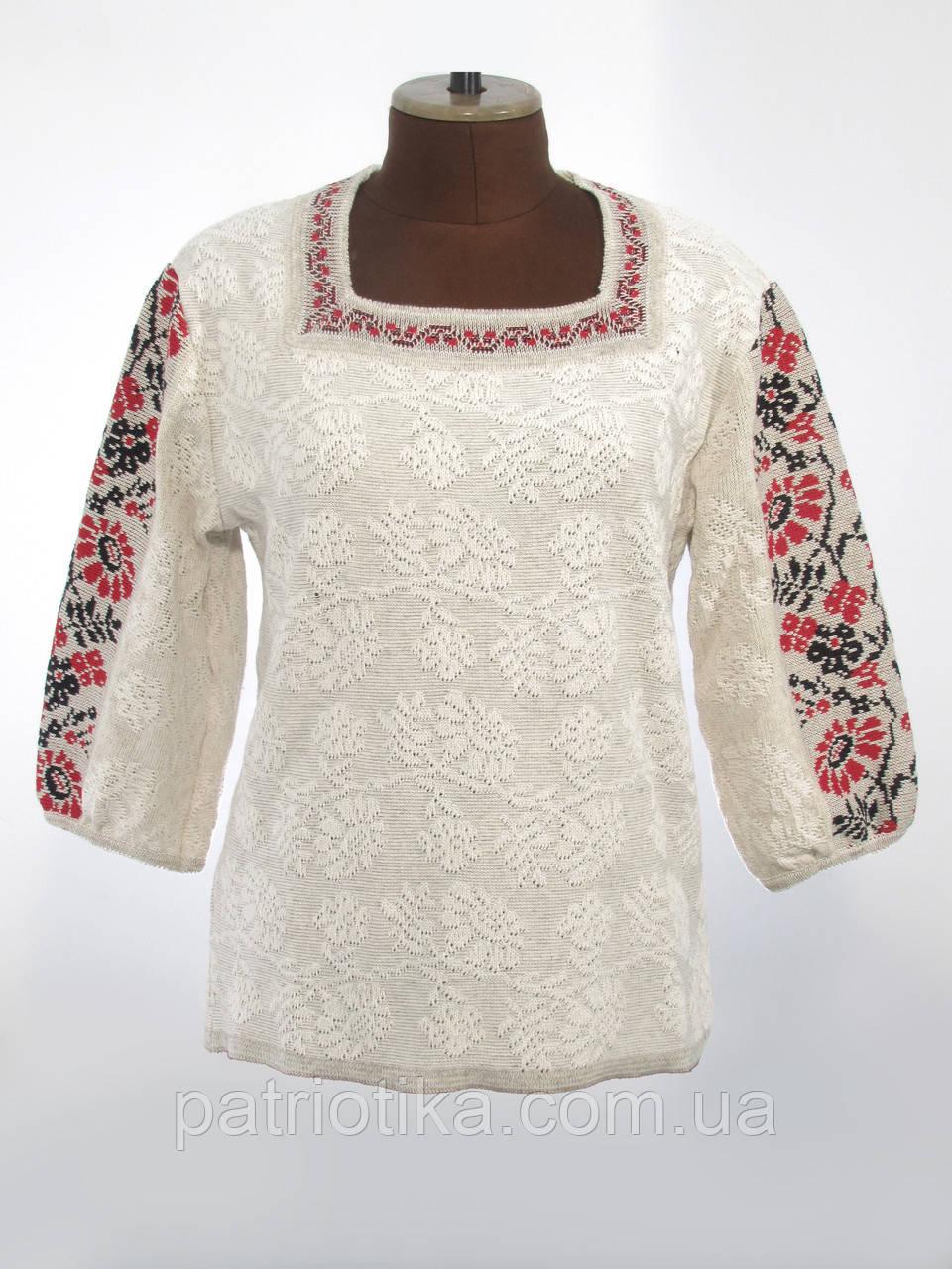 Стильная женская вязаная вышиванка | Стильна жіноча в'язана вишиванка