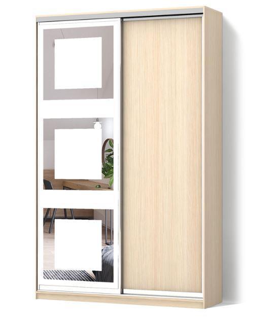 Шкаф-купе Стандарт двухдверный с фасадами ДСП дуб молочный+зеркало с рисунком пескоструй (66)