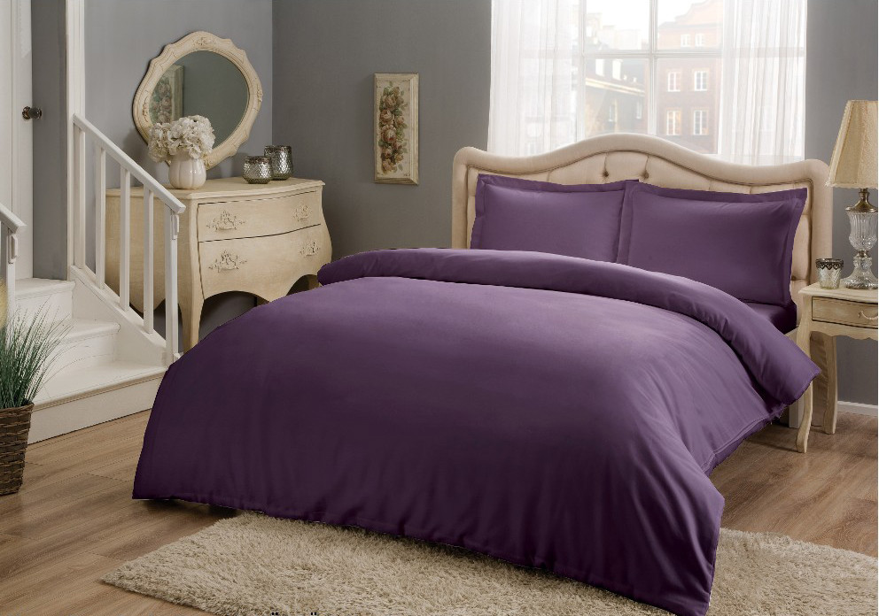 Постельное белье сатин евро Basic фиолетовый Tac