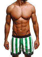 Мужские купальные шорты зелено-белые в полоску Madmext