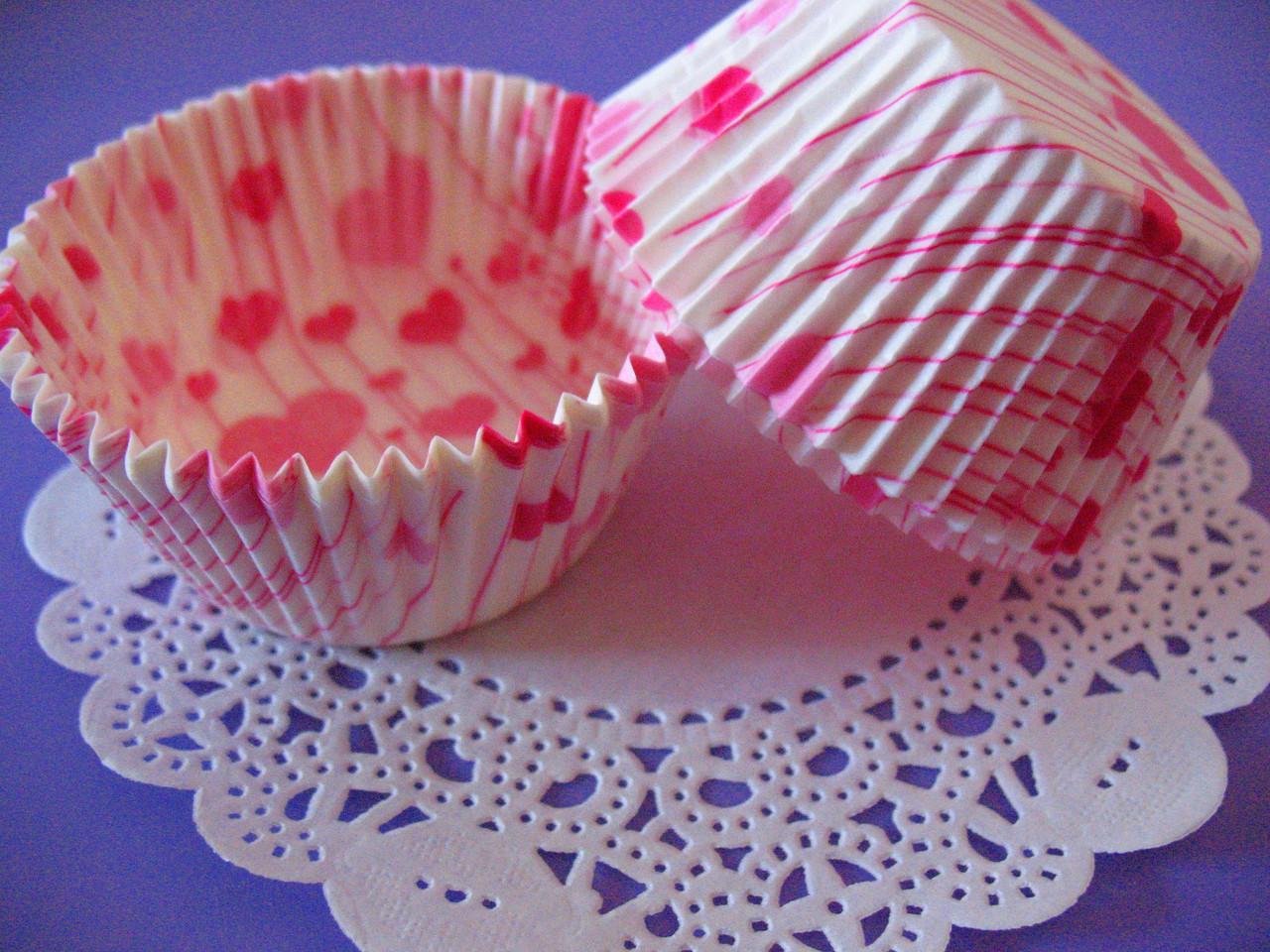 Тарталетки (капсулы) бумажные для кексов, капкейков сердечки №6