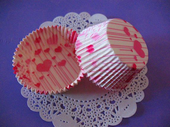 Тарталетки (капсулы) бумажные для кексов, капкейков сердечки №6, фото 2