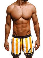 Мужские плавательные шорты желто-белые в полоску Madmext