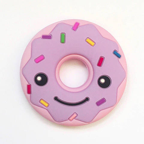 Пончик ( розовый/лаванда верх) , силиконовый прорезыватель для зубов