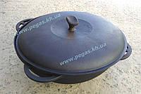 Казан чугунный азиатский 6 литров с чугунной крышкой, фото 1