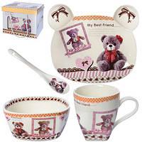 """Посуда детская керамика 4пр/наб (тарелка, супница, чашка, ложка) """"Мишки 3"""" N00937 (18наб)"""