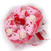 Букет из мягких игрушек Мишки с сердечками 5 розовые