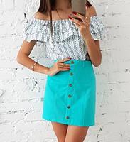 Костюм юбка-трапеция лен и топ хлопок с воланами