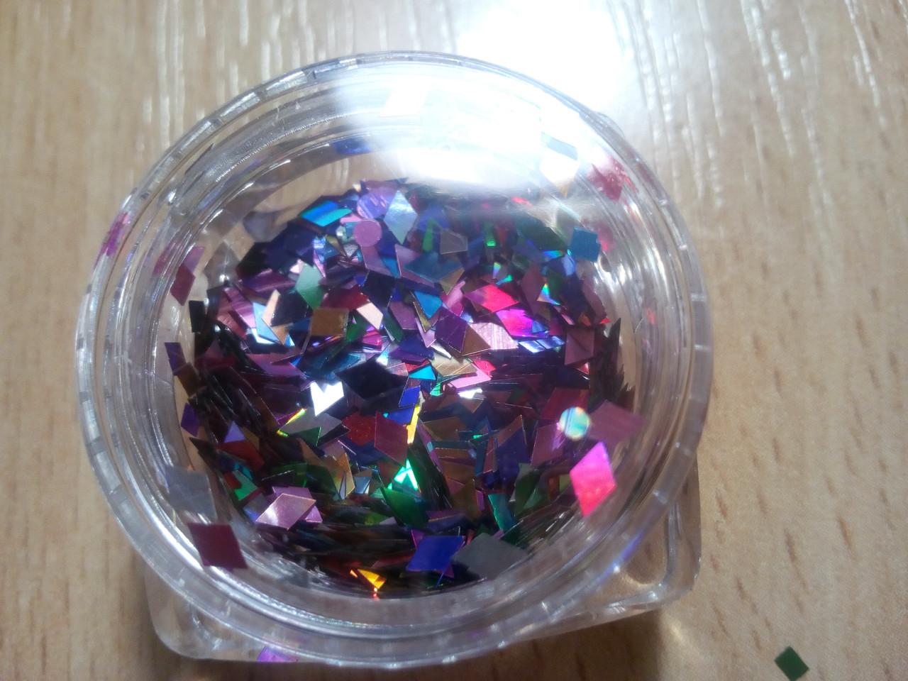 Фигурки для дизайна ногтей ромбы разноцветные