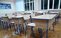 Парта  школьная двухместная с полкой Регулировка высоты , фото 1