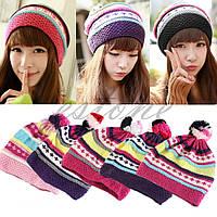 Женская зимняя теплая шапка цветная яркая вязанная модная стильная
