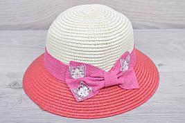 """Детская шляпа """"Котейки"""" Размер 52-54 см. Коралловая. Оптом."""