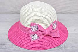 """Детская шляпа """"Котейки"""" Размер 52-54 см. Малиновая. Оптом."""