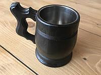 Пивной бокал из дерева, тёмный с металлической вставкой объемом 0,3л., фото 1