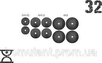 32 кг (4x5, 4х2.5, 2x2.15) дисков, покрытых пластиком (31 мм)