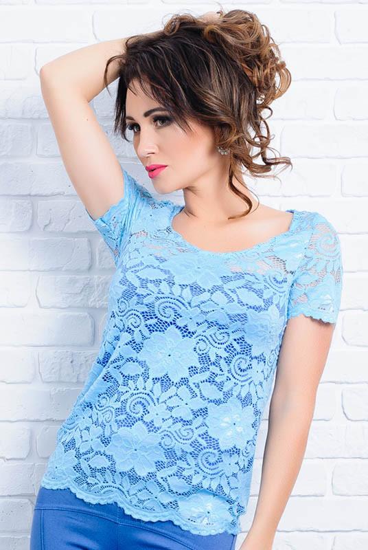 Голубая блузка с коротким рукавом  -Кристина - до р.60