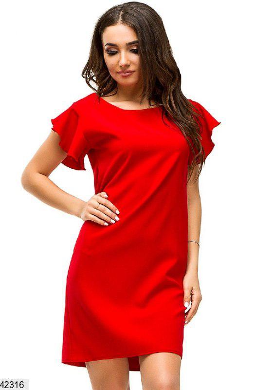 Стильное платье на лето короткое полуоблегающее рукава короткие рюши костюмка красное