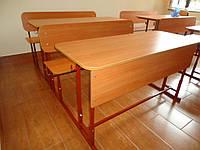 Парта двухместная с лавкой и полкой Регулировка высоты Школьная аудиторная