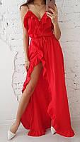 Шелковое платье в пол с разрезом и рюшами