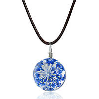 Ожерелье, Подвеска, Шнур, Кулон - Синий полевой цветок, Стеклянный, Прозрачный, Круглый, 44,5 см