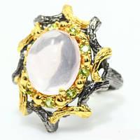 Серебряное кольцо ручной работы 925 пробы с натуральным розовым кварцем Размер 18