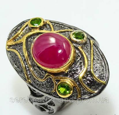 Серебряное кольцо ручной работы 925 пробы с натуральным рубином Размер 18,5