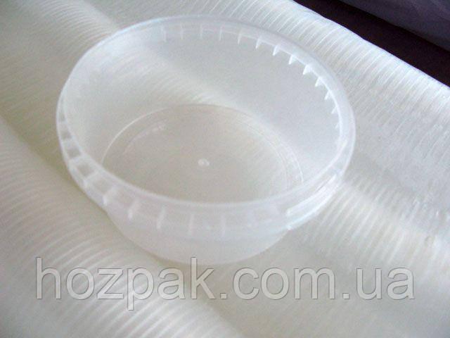 Відро з кришкою пластиковий харчової 0,3 літра овальний ,прозоре . (50 шт)