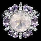 Кольцо из серебра 925 пробы с натуральным розовым кварцем и аметистом Размер 18,2