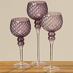 Набор подсвечников 3х фиолетовое стекло h30-40см