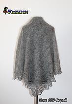 Оренбургский серый пуховой платок Альбертина, фото 3