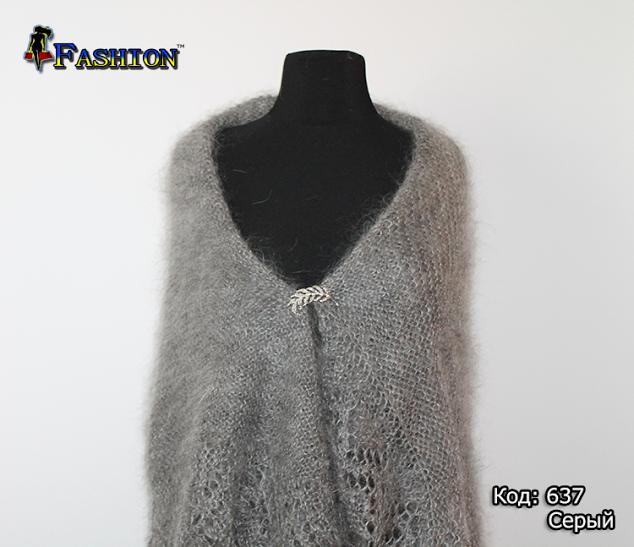 Оренбургский серый пуховой платок Альбертина