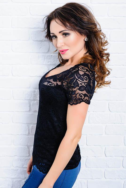Шикарная кружевная блузка  -Кристина - черный