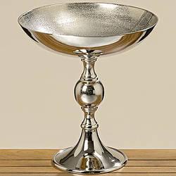 Деко-чаша на подставке серебряный металл h44см