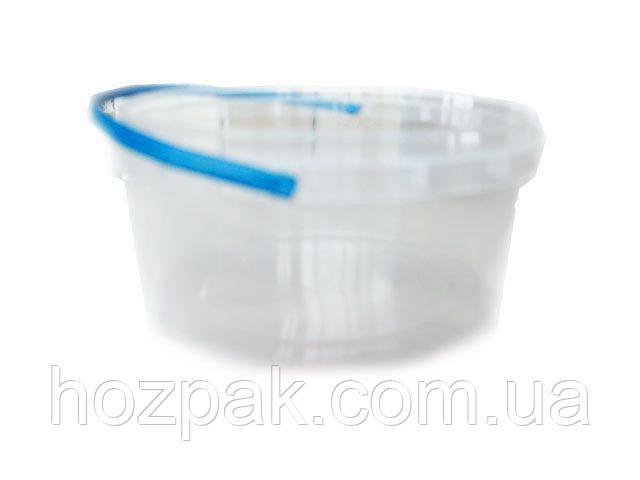 Ведра с крышкой  пластиковые пищевые 0,5литра круглое ,прозрачное . (50 шт)