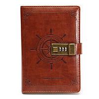 B6 Rudder Brown Leather Journal Blank Diary Примечание Книга с пароль Кодовый замок