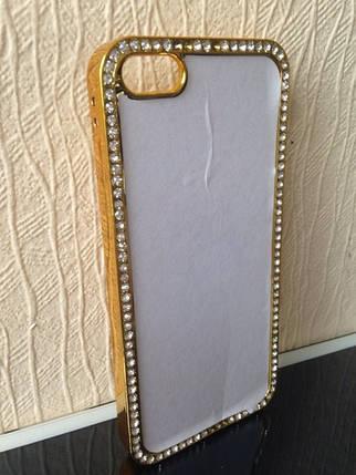 Чехол для 2D сублимации пластиковый Iphone 5/5S со стразами золотой, фото 2