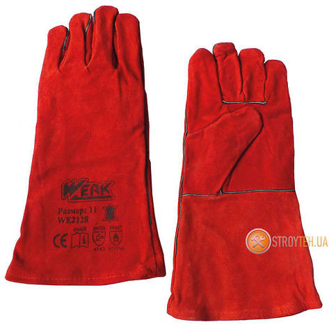 Werk WE2128 Рукавички замшеві (краги) червоні, фото 2