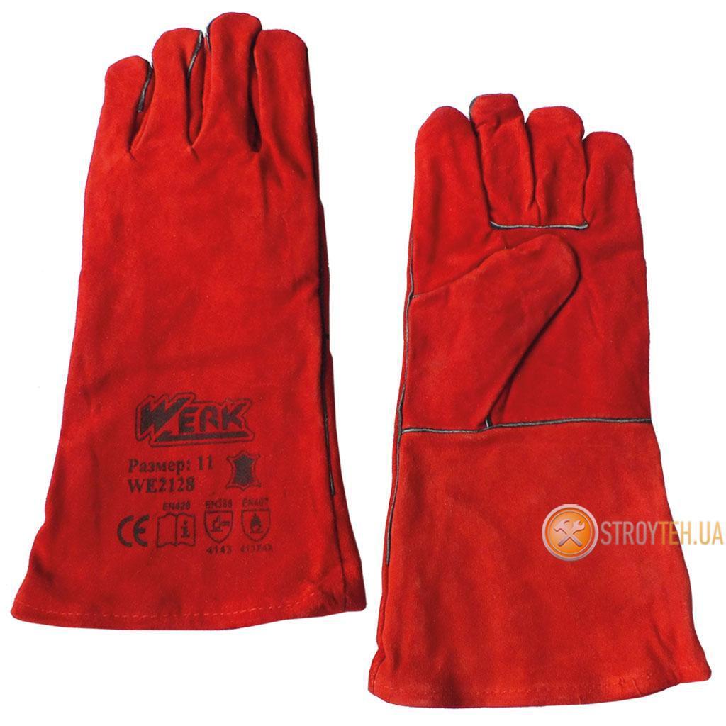 Werk WE2128 Рукавички замшеві (краги) червоні