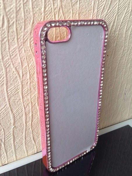 Чехол для 2D сублимации пластиковый Iphone 5/5S со стразами розовый хром