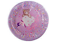 """Тарелка картонная для дня рождения, детского  23см""""Мишка""""  10шт (1 пач)"""