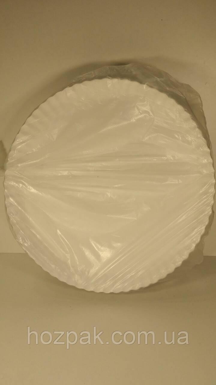 Тарелка бумажная под пиццу 300мм белая (100 шт)