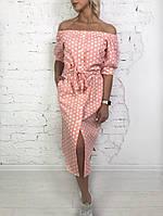 Стильне плаття в горох з відкритими плечамиаангард, фото 1