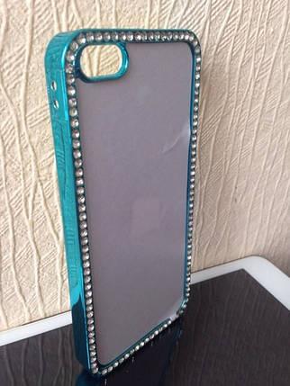 Чехол для 2D сублимации пластиковый Iphone 5/5S со стразами бирюзовый хром, фото 2