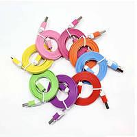 """Соединительный кабель USB """"лапша"""" - micro-USB / iPnone 4 / iPhone 5"""
