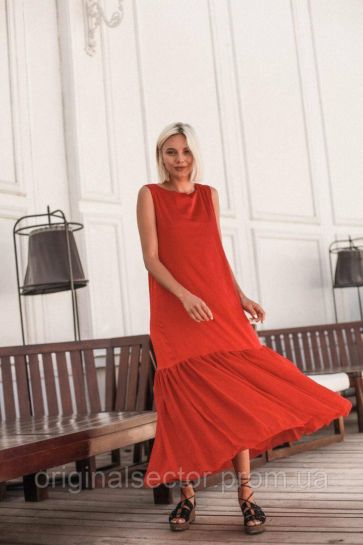 17267f891ae Красное летнее платье с воланом  продажа по Украине. платья женские ...