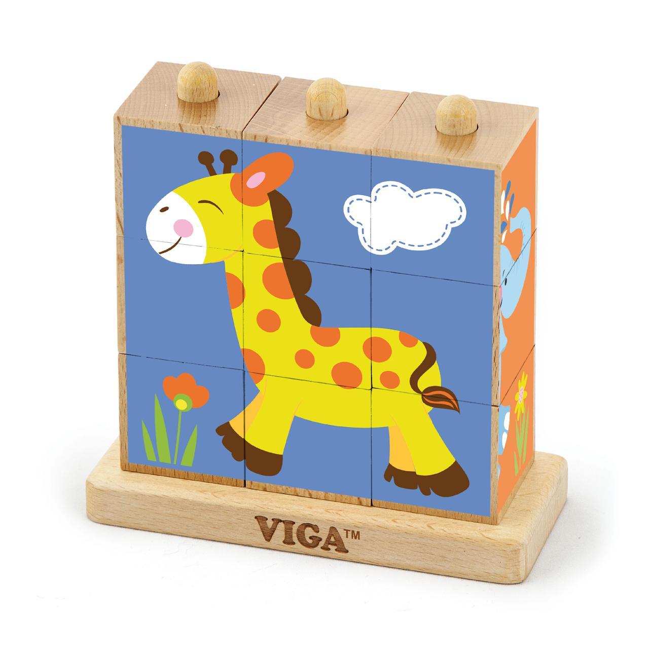 Пазл-кубики вертикальный Сафари Viga toys (50834)