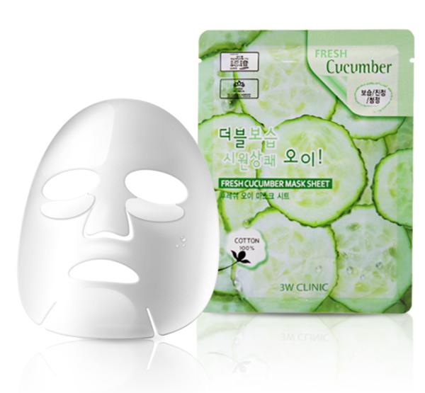 Тканевая маска с экстрактом огурца 3W Clinic Fresh Cucumber Mask Sheet