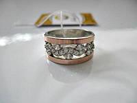 Кольцо Серебряное 5.66 гр. 18.5 р. СЕРЕБРО 925* + ЗОЛОТО 375*, фото 1