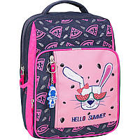 Школьный рюкзак Bagland для девочки серый Заяц